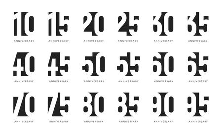 Logo dell'anniversario, segni stilizzati dello spazio negativo, emblemi celebrano l'anniversario, raccolta dei numeri del secolo, segni neri di compleanno impostati su priorità bassa bianca. Logo
