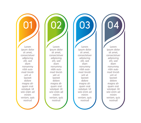 vertical steps infographic elements outline colorful menu for
