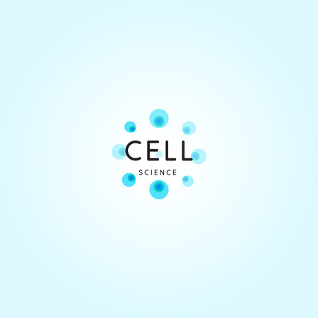Cell abstract logo, science design element, round blue bubbles, isolated chemical logotype template on blue background. Иллюстрация