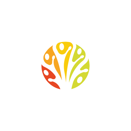 Tree branches, nature care sign, creative logo, people unity, abstract icon, round vector colored logotype template