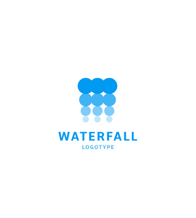 Waterfall icon, water abstract logo template, blue bubbles, hydroelectric power station, vector illustration on white background Illustration