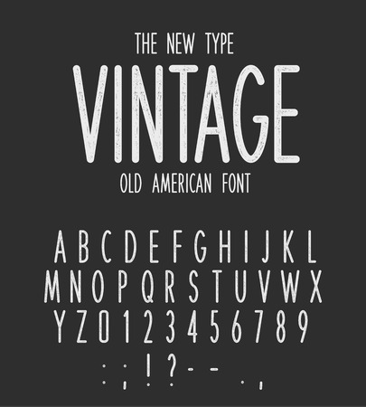 Vintage narrow type, modern letters design, old american font. White retro letters and numbers set on black background. Grunge style vector alphabet for logo, monogram, label and emblem design.