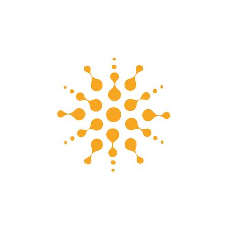 Forma redonda abstracta naranja de círculos, plantilla de logotipo universal. Icono aislado, ilustración vectorial sobre fondo blanco. Logos