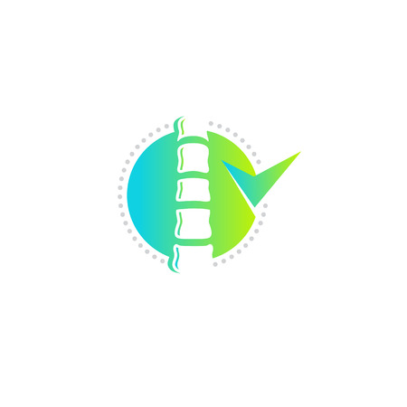Plantilla de logotipo de vector de clínica de columna, forma redonda de color verde, diseño de icono plano moderno.