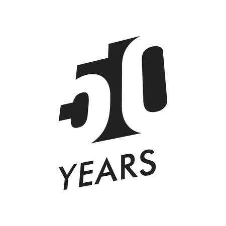 Fifty years vector emblem template. Anniversary symbol, negative space design. Jubilee black color icon. Happy 50th birthday, abstract illustration.