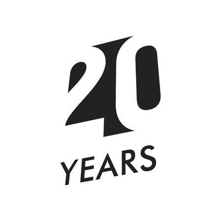 Twenty years vector emblem template. Anniversary symbol, negative space design. Jubilee black color icon. Happy 20th birthday, abstract illustration. Vektoros illusztráció