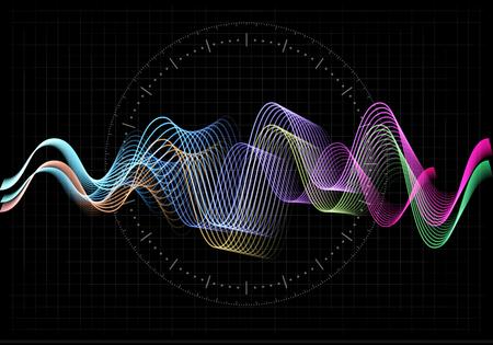 Illustrazione vettoriale di equalizzatore. Icona astratta dell'onda impostata per musica e suono. Linee di movimento ondulato di colore di pulsazione su sfondo nero. Grafico della frequenza radio. Voce digitale grafica. Linea tasso azionario.