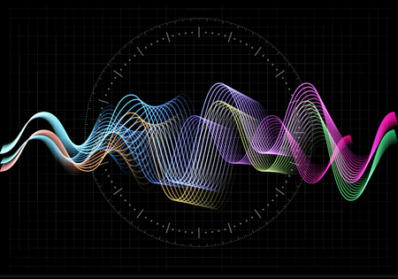Equalizer vector illustration. Abstract wave icon set for music and sound. Pulsation color wavy motion lines on black background. Radio frequency graph. Graphic digital voice. Stock rate line. Illustration