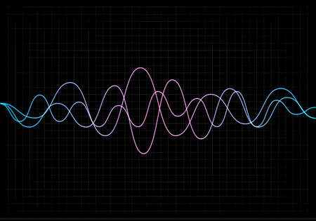 Equalizer vector illustration. Abstract wave icon set for music and sound. Pulsation color wavy motion lines on black background. Radio frequency graph. Graphic digital voice. Stock rate line. 向量圖像