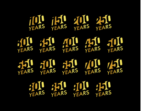 Anniversary vector cursive numbers set. Birthday celebration logo collection. Golden years signs on black background. Jubilee illustration design.