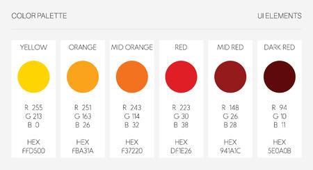 Color palette, ui elements. RGB vector illustration, colour set template. Yellow, orange, red, marsala tone on white background.
