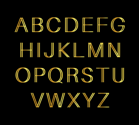 Golden retro alphabet on black background Ilustração
