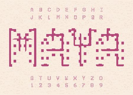 Ancient maya alphabet. Hieroglyphic old letters template. Aztec alphabet