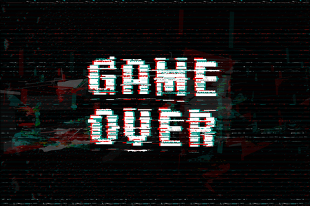 Game Over, screen message, vector illustration. Glitch effect text, digital noise background. Reklamní fotografie - 107709029