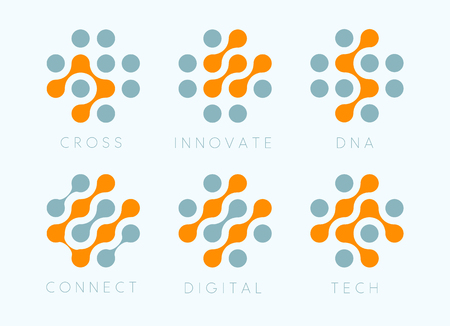 Dots cross vector emblem set. Innovate bio tech modern icons. Digital science labosatory isolated logo collection. Abstract plus symbols from orange and grey circles . Chip connect unusual signs.