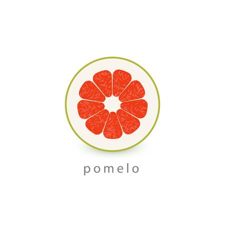 Pomelo simple icon. Vegan logo template. Minimalism style vector illustration on white background.