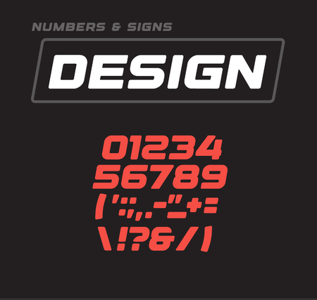 Numbers and signs collection. Italic bold geometric softed alphabet addition, geometrical design. Sport game vector font template on black background.