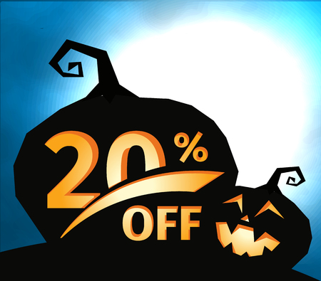 Pumpkin silhouette on dark blue sky with full moon. Halloween 20 percent off, sale banner. Holiday offer, autumn discount vector illustration