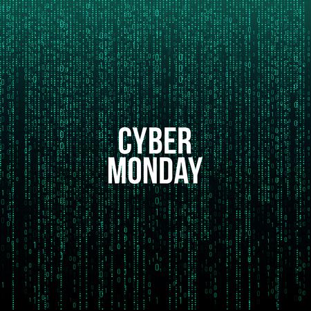 Poster del Cyber Monday. Testo bianco su sfondo verde codice computer, illustrazione vettoriale. Vettoriali
