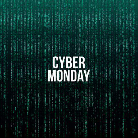 Cyber Monday Poster. White text on green computer code background, vector illustration.