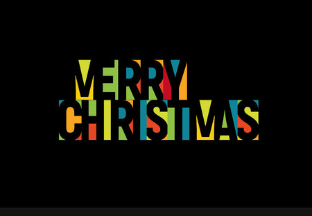 Merry Christmass colorful letters, banner template. Colored vector latin promo text. Rainbow color poster. Color paper applique tag, Negative space typography design