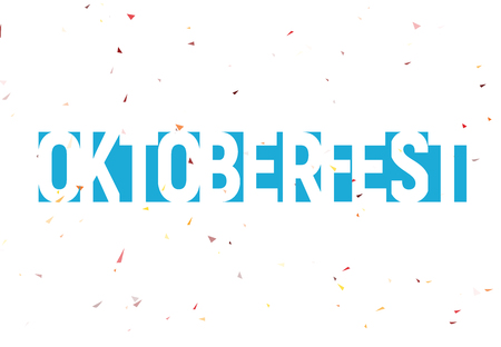 Oktoberfest festival label, blue text with confetti snow. Munich best beer fest banner and logo. Blue geometric lettering, negative space type design.