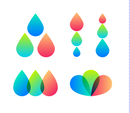 Drops vector icons set. Inkjet Printer logo template. Design house, expresse photo company logotype. Typography abstract symbol. Isolated vector illustration on white background.
