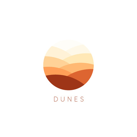 Sand dunes vector icon. Desert landscape logo template. Abstract round flat style logotype. Çizim