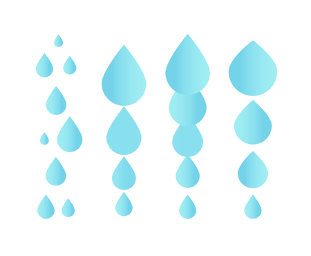 Falling water icon. Clean droplet logo template. Simple flat sign. Blue abstract symbol. Isolated vector illustration on white background. Stock Photo