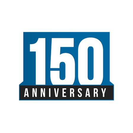 150. Jahrestagsvektorikone. Geburtstag Logo Vorlage. Grußkarten-Gestaltungselement. Einfaches Geschäftsjubiläumsemblem. Blaue strenge Stilnummer. Isolierte Vektorillustration auf weißem Hintergrund.