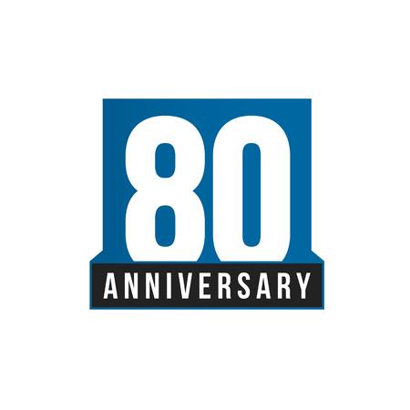 Icono de vector de 80 aniversario. Plantilla de logotipo de cumpleaños. Elemento de diseño de tarjetas de felicitación. Emblema de aniversario de negocios simple. Número de estilo estricto azul. Ilustración de vector aislado sobre fondo blanco. Logos