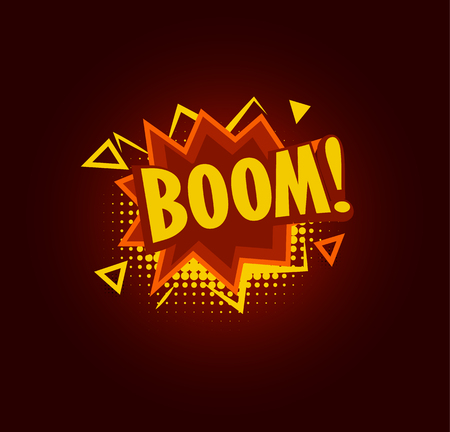 Boom speach balloon, explosive sale baner, abstract isolated vector illustration on black background.