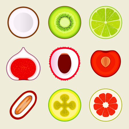 Set of flat fruit and vegetables. Colored simple icons on blank background. Logo design template, food store design graphic elements. Vector illustrations.