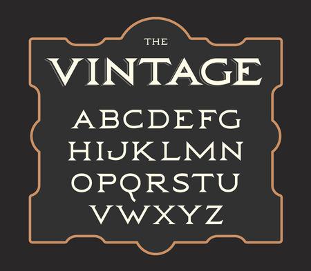 Insieme di vettore delle lettere dell'annata. Alfabeto latino retrò. Eleganza vecchio tipo. Collezione di lettere serif.
