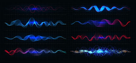 Equalizer vector illustration. Pulsation color wavy motion lines on black background. Radio frequency graph. Graphic digital voice. Stock rate line.
