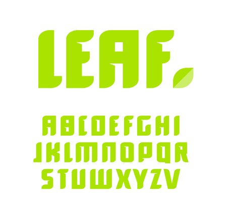 Green letters set. Vector latin alphabet. Natural product font. Leaf ABC, nature monogram and poster template. Typography design.