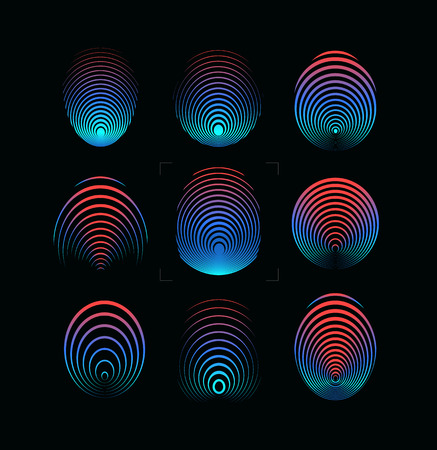 Set of fingerprint vector icon. Round digital finger print symbol. Security system logo template. Blue and red gradient forefinger color illustration on black background. Identity technology. Vectors. Çizim