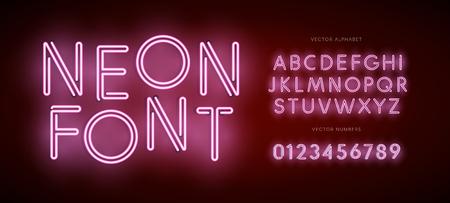 Ensemble de lettres et de chiffres au néon. Tapez pour le logo Modern Neon, l'emblème de la veilleuse, le logotype Bar et Casino. Police vectorielle isolée. Alphabet sur fond sombre