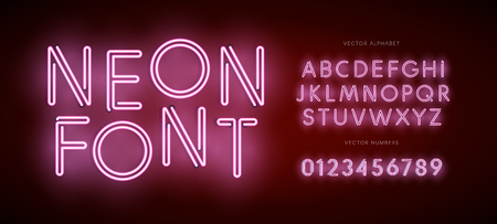 Set of neon letters and numbers. Type for Modern Neon logo, Night light Emblem, Bar and Casino logotype. Isolated Vector Font. Alphabet on dark background Illustration