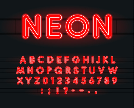 Set of neon letters, numbers and signs. Vector Alphabet for Bar, Cinema, slot machines and Casino. Vectors. Red illuminated font on black background.