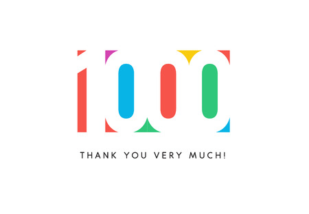 One thousand subscribers baner. Colorful logo for anniversary day. Stock Photo