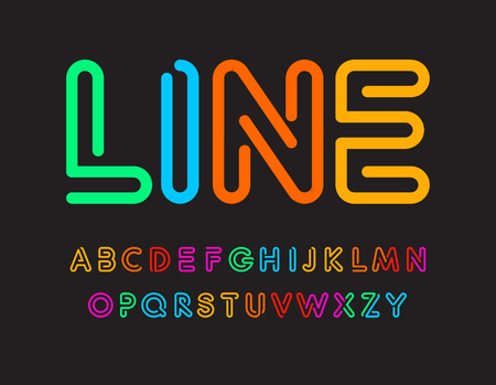 Set of colorful letters. Font from color line. Art alphabet. Simple maze typeset. Vector type on black background.