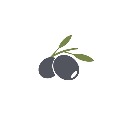 Olives emblem. Olive oil element. Green olive branch, leaves and fruit. Natural food sign.