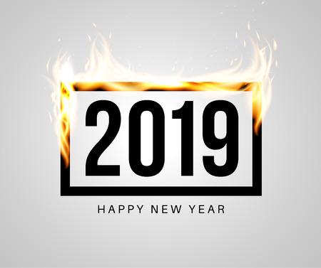 Burning black frame with 2019 inside. Congratulatory banner or greeting card template for New Year party. Vector illustration.