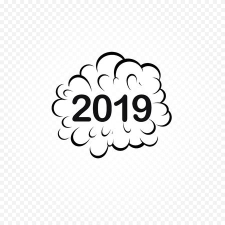 2019 Comic speech bubble. Pop art design. New Year and Christmas Funny comics design element. Vector illustration.