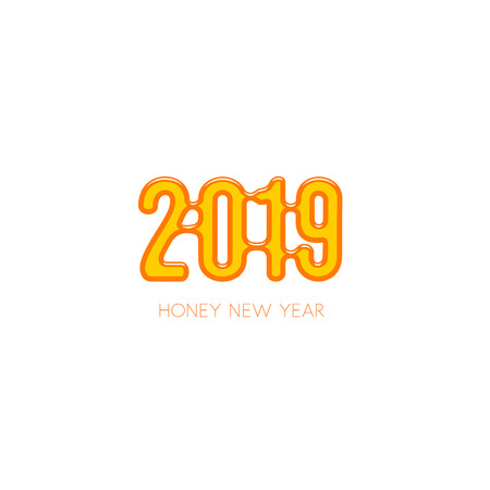Sweet honey new year 2019, vector illustration. Yellow candied logo template on white background.
