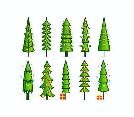 Icone di vettore dell'albero di Natale. Set di pini di contorno con ghirlande, regali e decorazioni. Alti alberi verdi su sfondo bianco vuoto. Modello di carta, invito, volantino, poster o banner.