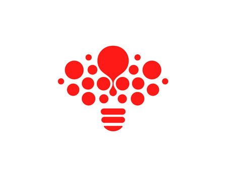 Lightbulb icon. Creative idea logo design concept. Bright red circles, bubbles vector art. Solution for inspiration sign.