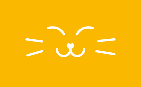 Muzzle sleeping cat banner. Satisfied sweet kitty line style logo template. Smiley cat vector illustration on yellow background.