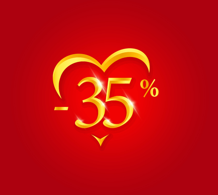 Valentines Day Sale poster. Holiday Discount banner design. Premium sale Certificate template. Golden numbers with abstract heart shape. Vector illustration on red background.